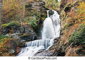 ősz, vízesés, alatt, hegy
