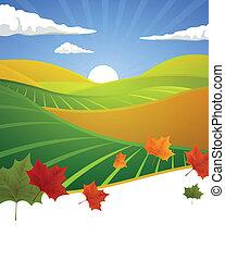 ősz, vektor, táj