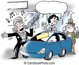 őt énekel, kipufogócső, autó, ábra, autó salesman, karikatúra