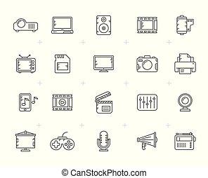 řádka, moderní, multimedia, ikona