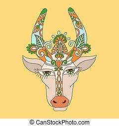Ozdobny Krava Stylizovany Indian Kvetinovy Radka Hlavicka