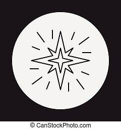 řádka, proložit, hvězda, ikona