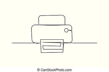 řádka, tiskař, kreslení, jeden