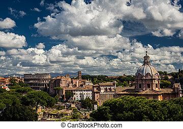 řím, architektura, italský