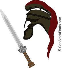 římský, helma, a, meč