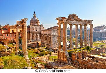 římský záhuba, do, řím, forum