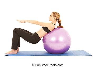 řada, pilates, cvičit