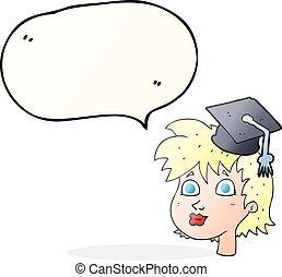 řeč bublat, karikatura, absolvent, manželka