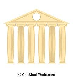 řečtina, chrám, s, sloupec, a, roof., vektor, ilustrace, o, starobylý, architecture.