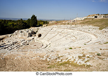 řečtina, divadlo, neapolis, o, syracuse