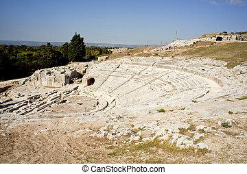 řečtina, neapolis, divadlo, syracuse