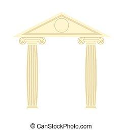 řečtina, portico., řečtina, temple., dva, sloupec, a, roof., vektor, ilustrace, o, starobylý, architecture.