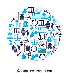 řecko, země, námět, symbol, a, ikona, do, kruh, eps10