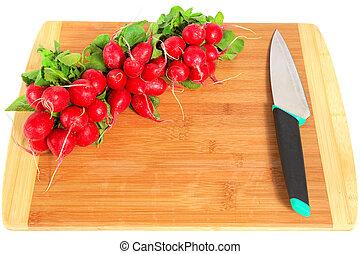 ředkvička, a, nůž, dále, dřevěná deska