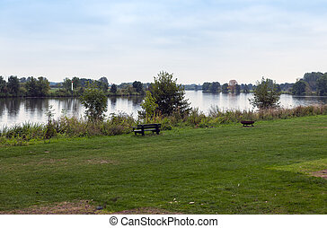 řeka, holandsko, krb, lavice, maas