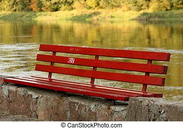 řeka, lavice