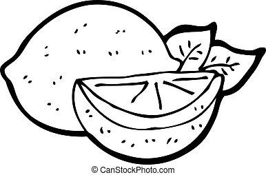řezat, citrón, karikatura
