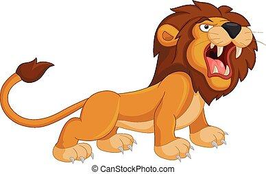 řvoucí, karikatura, lev