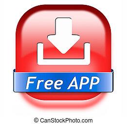 ściąganie, app, guzik, wolny