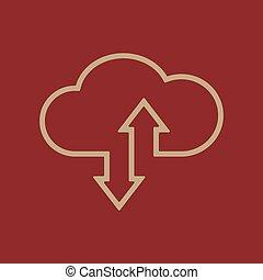 ściąganie, upload, chmura, ikona
