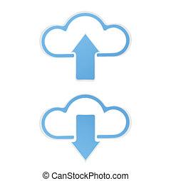 ściąganie, upload, chmura