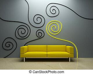 ściana, -, żółta leżanka, projektować, wewnętrzny, ozdobny
