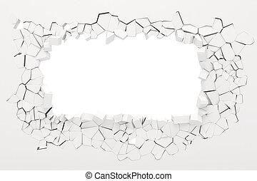 ściana, 3d, zniszczenie
