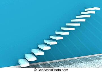 ściana, błękitny, biały, kroki