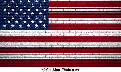 ściana, bandera, wybuch, usa