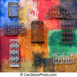 ściana, barwny