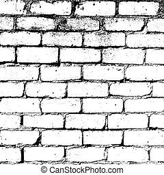 ściana, biała cegła, struktura