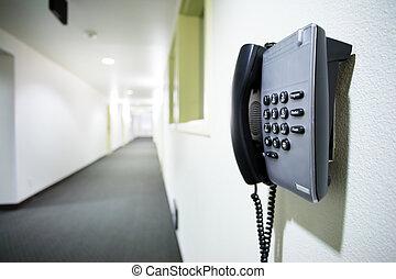 ściana, biały, telefon, korytarz