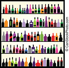ściana, butelki, alkohol