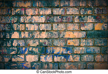 ściana, cegła, barwny