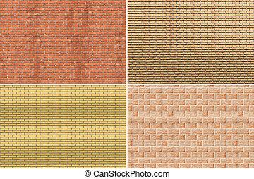 ściana, cegła, collage.