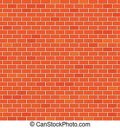 ściana, cegła, czerwony