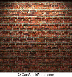 ściana, cegła, oświetlany