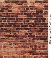ściana, cegła, stary, czerwony