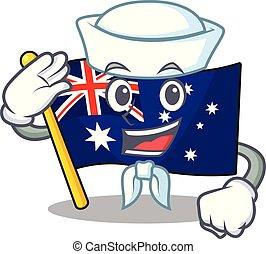 ściana, clings, marynarz, bandera, australijski, rysunek