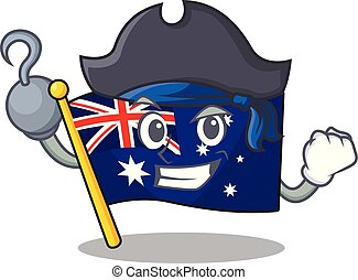ściana, clings, pirat, bandera, australijski, rysunek