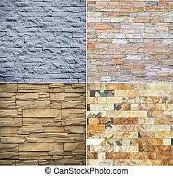 ściana, collage, kamień