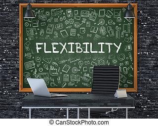 ściana, concept., elastyczność, biuro, chalkboard