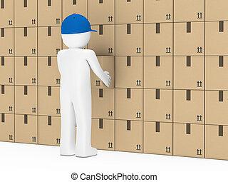 ściana, człowiek, pakunek