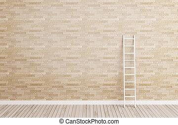 ściana, drabina, chudy