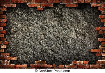 ściana, grungy, cegła, ułożyć