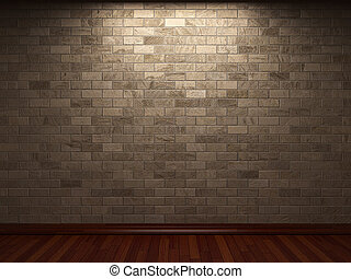 ściana, kamień, oświetlany