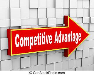 ściana, konkurencyjny, przewaga, 3d