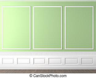 ściana, kopia, zielony, klasyk, przestrzeń