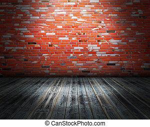 ściana, miejski, cegła, rusztowanie