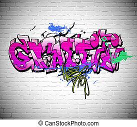 ściana, miejskie graffiti, tło, sztuka